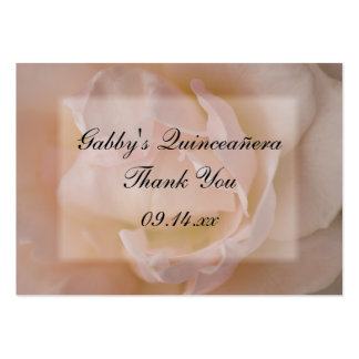 Pink Rose Thank You Quinceañera Favor Tags Large Business Cards (Pack Of 100)