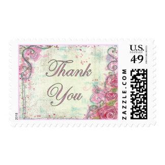 Pink Rose Thank You Stamp