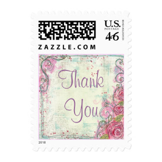 Pink Rose Thank You Stamp Small