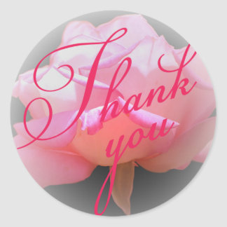 Pink Rose Thank You sticker