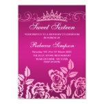 Pink Rose & Tiara Birthday Invitation