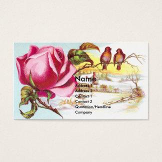 Pink Rose & Tiny Birds Victorian Trade Card