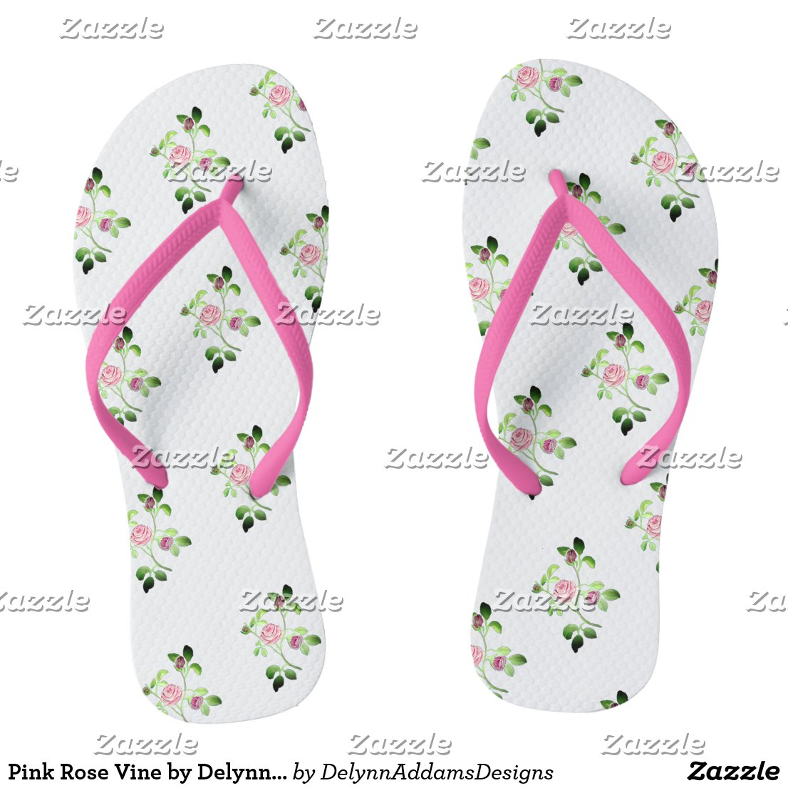 Pink Rose Vine by DelynnAddams Flip Flops
