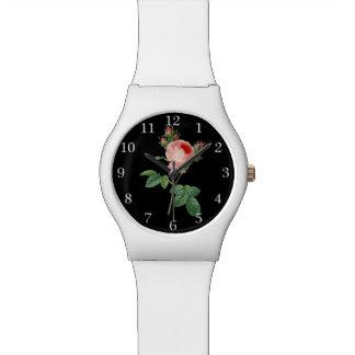Pink rose vintage botanical illustration dark watches