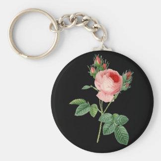 Pink rose vintage botanical illustration on dark keychain