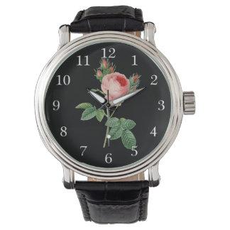 Pink rose vintage botanical illustration on dark wrist watches