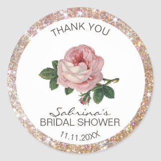 Pink Rose Vintage Gold Glitter Bridal Shower Classic Round Sticker