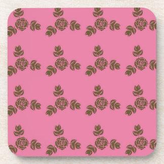 Pink Rose Vintage Shabby Style Pattern Beverage Coaster
