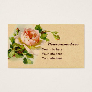 Pink Rose Vintage Style Watercolor Painting Business Card