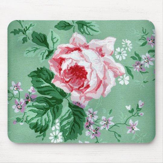 Pink Rose Vintage Wallpaper Mousepad Zazzle Com