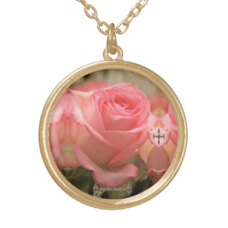 Pink Rose w/ Cross Necklace by deprise designs