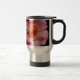 Pink Rose w/ Dew Drops Black Background Coffee Mug