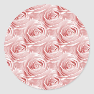 Pink Rose Wallpaper Pattern Classic Round Sticker