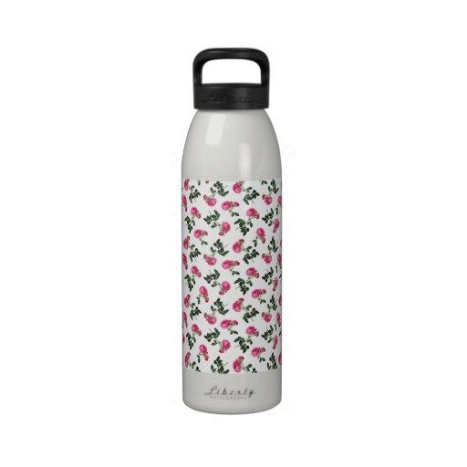 Pink Rose Wallpaper Pattern Water Bottle