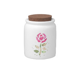 Pink Rose (Watercolor by K.Turnbull Art) Candy Jars