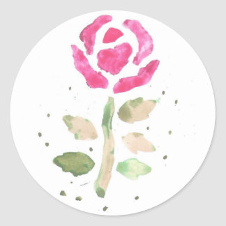 Pink Rose (Watercolor by K.Turnbull Art) Classic Round Sticker