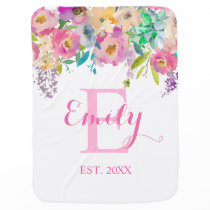 Pink Rose Watercolor Floral Monogram Name Girl Baby Blanket