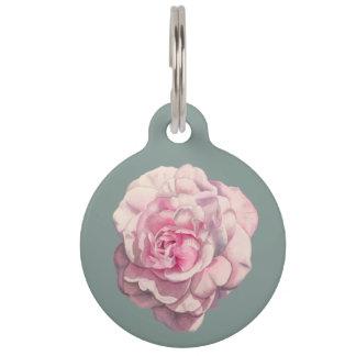 Pink Rose Watercolor Illustration Customizable Pet Name Tag