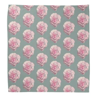 Pink Rose Watercolor Illustration Pattern Bandana