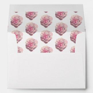 Pink Rose Watercolor Illustration Wedding Envelope