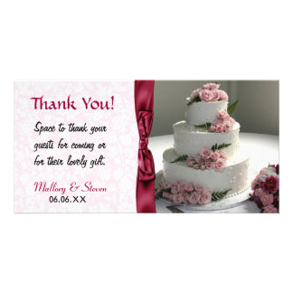 Pink Rose Wedding Cake Card