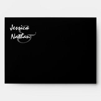 PINK Rose Wedding Envelope BLACK Background