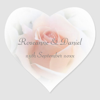 Pink Rose Wedding Heart Sticker