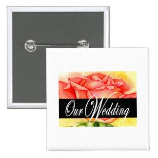 Pink Rose Wedding Painting Art - Multi Button