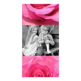 Pink Rose Wedding Photo Card