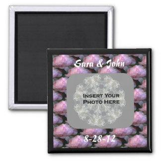 Pink Rose Wedding Photo Magnet