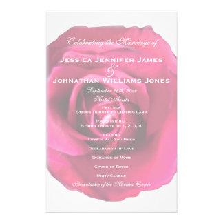 Pink Rose Wedding Programs