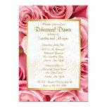 Pink Rose Wedding Rehearsal Dinner 5x7 Paper Invitation Card