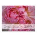 Pink Rose Wedding RSVP 4.25x5.5 Paper Invitation Card
