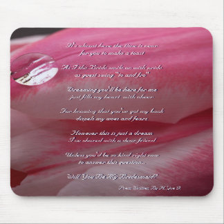 Pink Rose Will You Be My Bridesmaid Mousepad