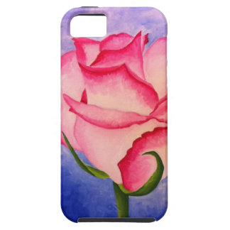 Pink rose with blue iPhone SE/5/5s case