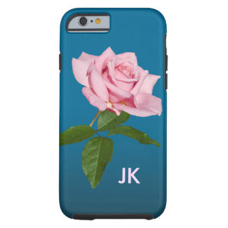 Pink Rose with Dew Drops Customizable Monogram Tough iPhone 6 Case