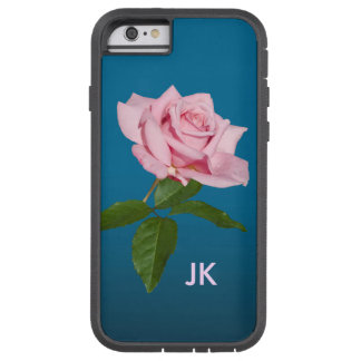 Pink Rose with Dew Drops Customizable Monogram Tough Xtreme iPhone 6 Case