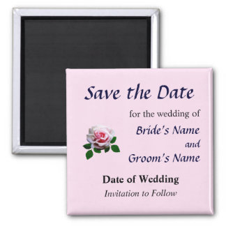 Pink Rose With Leaves Save the Date 2 Inch Square Magnet