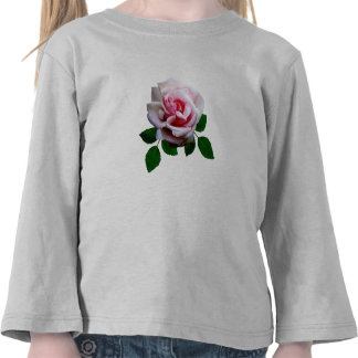 Pink Rose With Leaves Tee Shirt