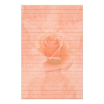 Pink Rose With Lines Stationery