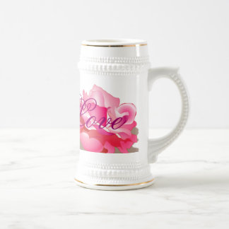 Pink Rose With Love Beer Stein
