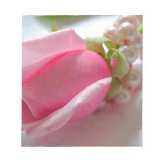 Pink rose with pearls notepad