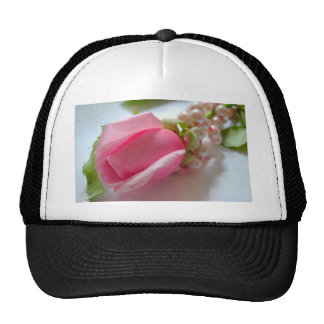 Pink rose with pearls trucker hat