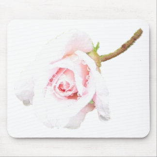 Pink Rose with rain drops Mouse Pad
