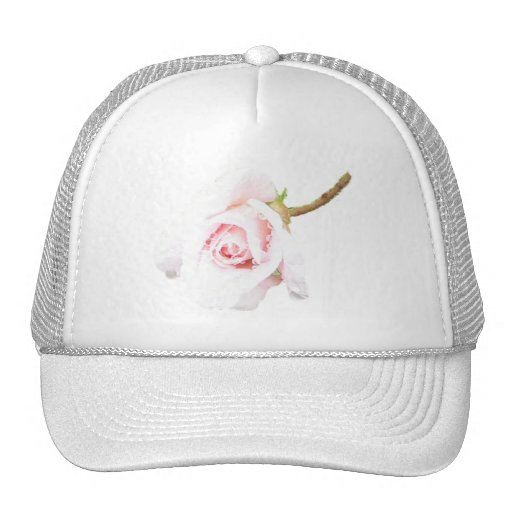 Pink Rose with rain drops Trucker Hat