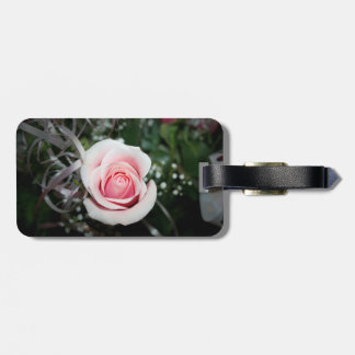 pink rose with ribbon close up flower bag tags