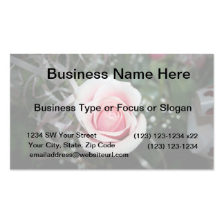 pink rose with ribbon close up flower Double-Sided standard business cards (Pack of 100)