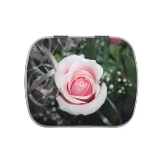 pink rose with ribbon close up flower candy tin
