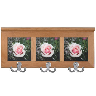 pink rose with ribbon close up flower coat rack