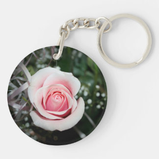 pink rose with ribbon close up flower acrylic key chains